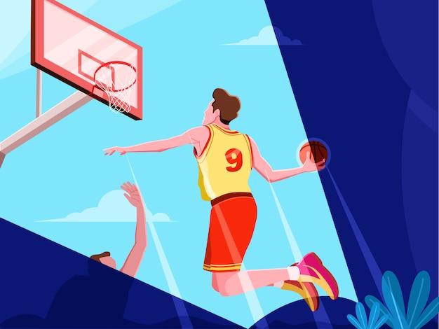 Illustrazione di sport di pallacanestro di slamdunk