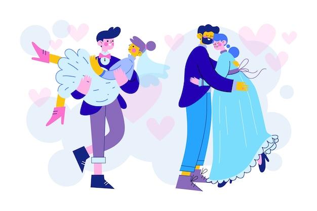 Illustrazione di sposi
