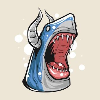 Illustrazione di squalo zombie