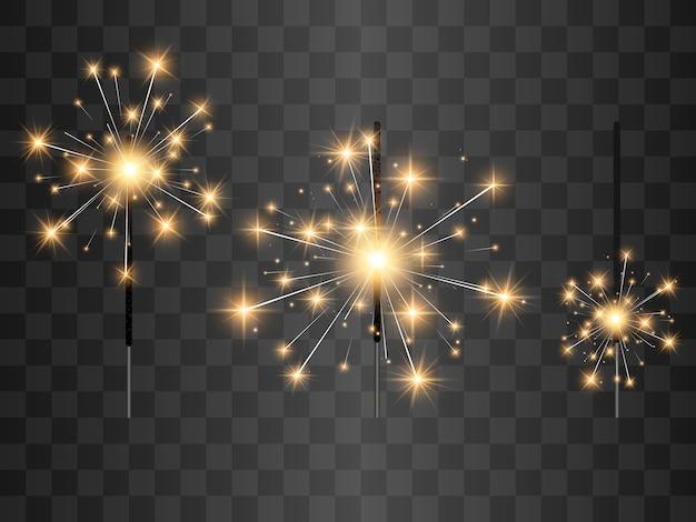 Illustrazione di stelle filanti su uno sfondo trasparente.