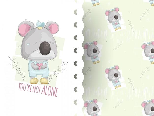 Illustrazione di stile del fumetto di piangere teddy koala