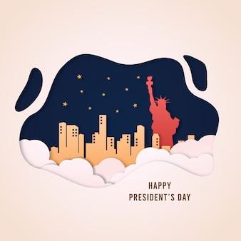 Illustrazione di stile di vettore di papercut del giorno di presidenti