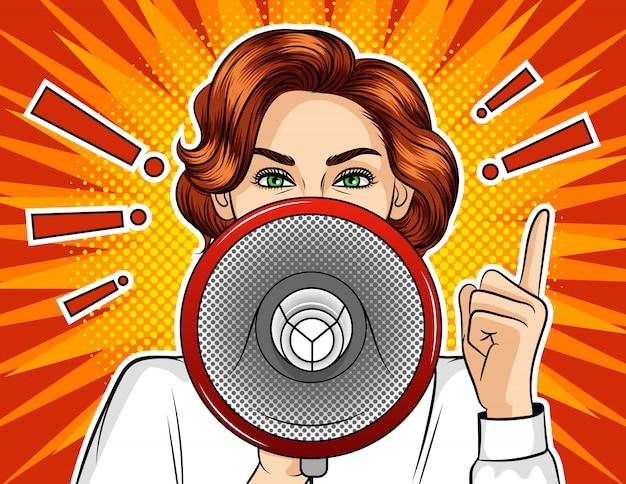 Illustrazione di stile fumetto pop art di vettore di colore. la ragazza con un altoparlante.