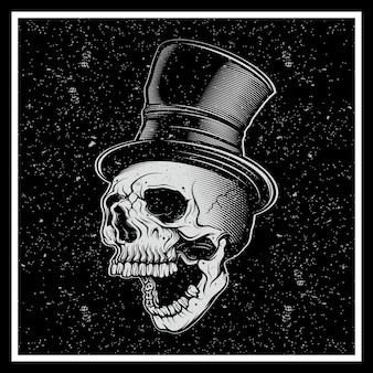 Illustrazione di stile grunge, un teschio baffuto in un cappello