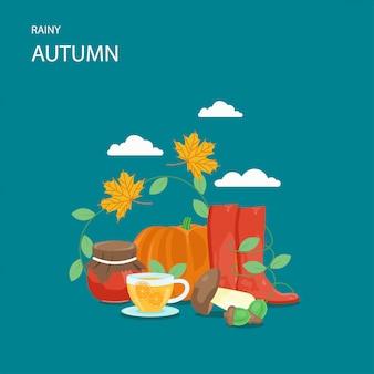 Illustrazione di stile piano autunno piovoso