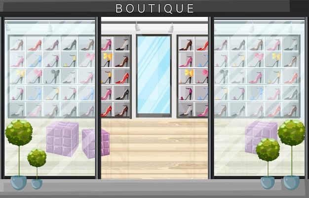 Illustrazione di stile piano boutique negozio di scarpe