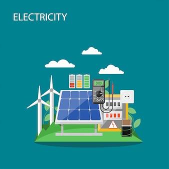 Illustrazione di stile piano concetto di elettricità