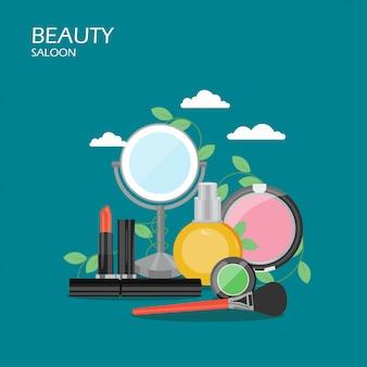 Illustrazione di stile piano del salone di bellezza
