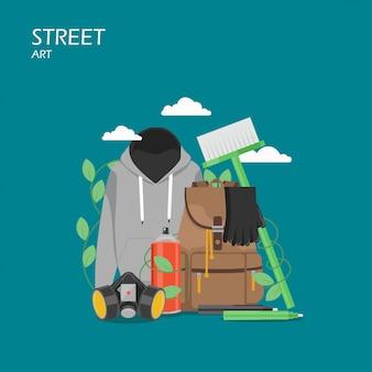 Illustrazione di stile piano di arte di strada