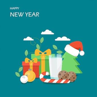Illustrazione di stile piano di felice anno nuovo