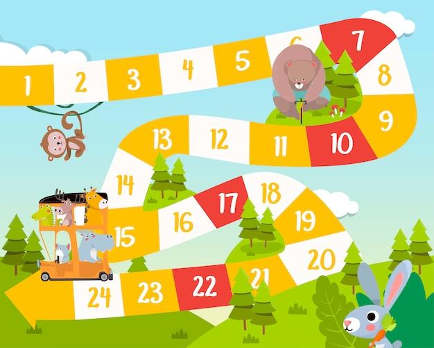 Illustrazione di stile piano di gioco da tavolo per bambini animali.