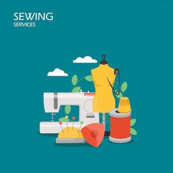 Illustrazione di stile piano di servizi di cucito