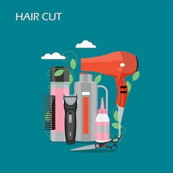 Illustrazione di stile piano di vettore del taglio di capelli