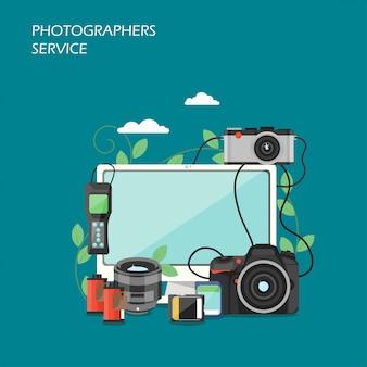 Illustrazione di stile piano di vettore di servizio di fotografi