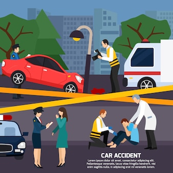 Illustrazione di stile piano incidente d'auto