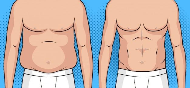 Illustrazione di stile pop art di colore di un uomo prima e dopo la perdita di peso.