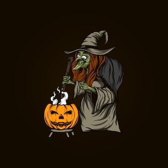 Illustrazione di strega halloween