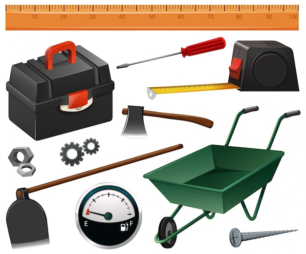 Illustrazione di strumenti di costruzione e giardinaggio