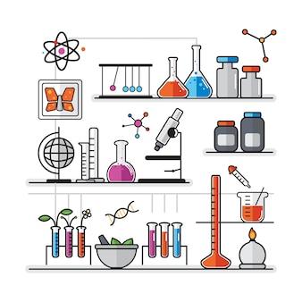 Illustrazione di strumenti di laboratorio di chimica impostato