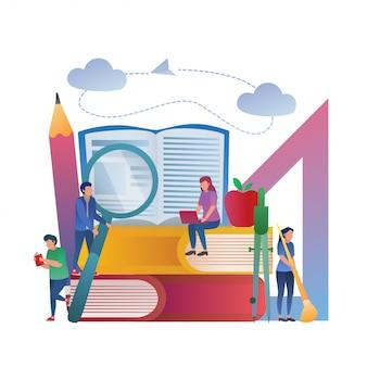 Illustrazione di studio di concetto di istruzione insieme