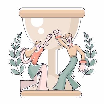 Illustrazione di successo di scopo della ragazza e del ragazzo