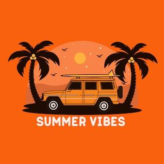 Illustrazione di surf auto vacanza