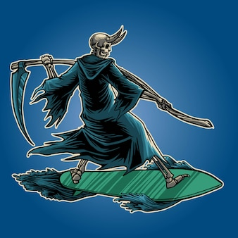 Illustrazione di surf mietitore
