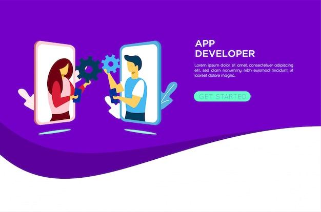 Illustrazione di sviluppatore di applicazioni mobili
