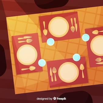 Illustrazione di tavolo piatto