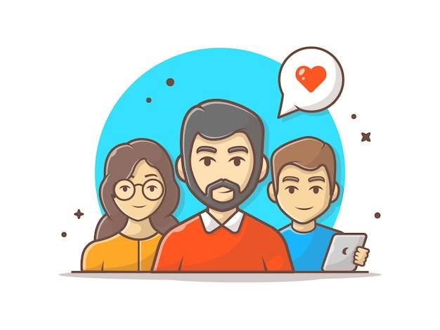 Illustrazione di team work characters icon