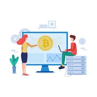 Illustrazione di tecnologia blockchain in stile piano