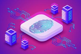 Illustrazione di tecnologia di blockchain di biometria della sicurezza digitale dell'impronta digitale per criptovaluta