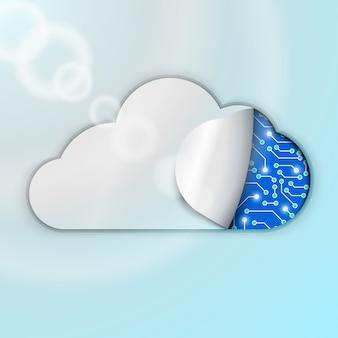 Illustrazione di tecnologia di cloud computing. orologio o microchip sotto copertura.