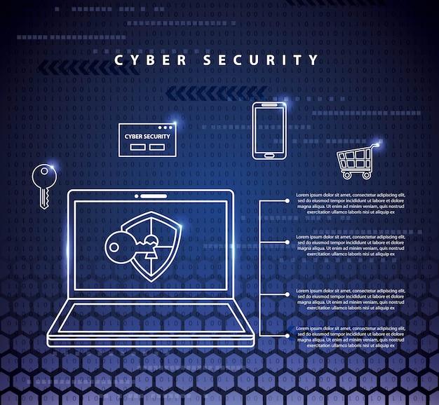 Illustrazione di tecnologia di sicurezza informatica