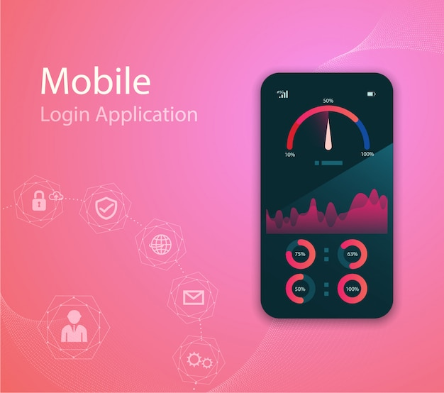 Illustrazione di tecnologia multimediale con telefono cellulare e icone.