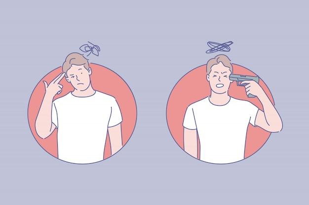 Illustrazione di tendenze suicide