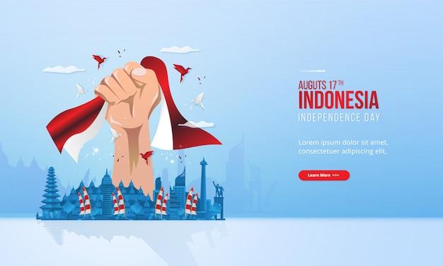Illustrazione di tenere una bandiera rossa e bianca per la festa dell'indipendenza dell'indonesia