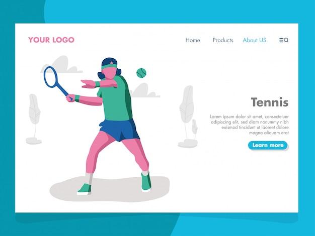 Illustrazione di tennis per la pagina di destinazione