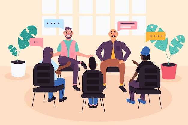 Illustrazione di terapia di gruppo