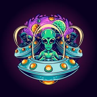 Illustrazione di terrore alieno