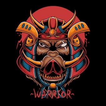 Illustrazione di testa di cinghiale samurai