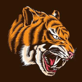 Illustrazione di testa di tigre di rabbia