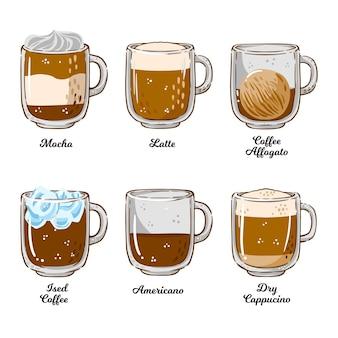 Illustrazione di tipi di caffè