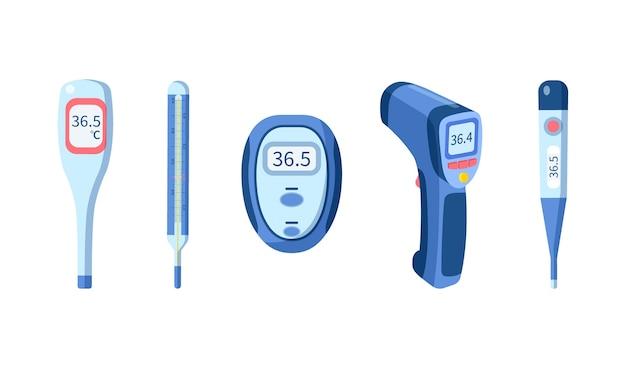 Illustrazione di tipi di termometro piatto