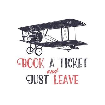 Illustrazione di tipografia aereo vintage