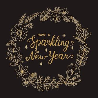 Illustrazione di tipografia del nuovo anno della corona del fiore