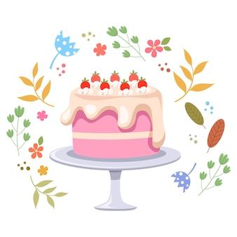 Illustrazione di torta e fiori