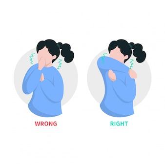 Illustrazione di tosse e starnuti del gomito della donna