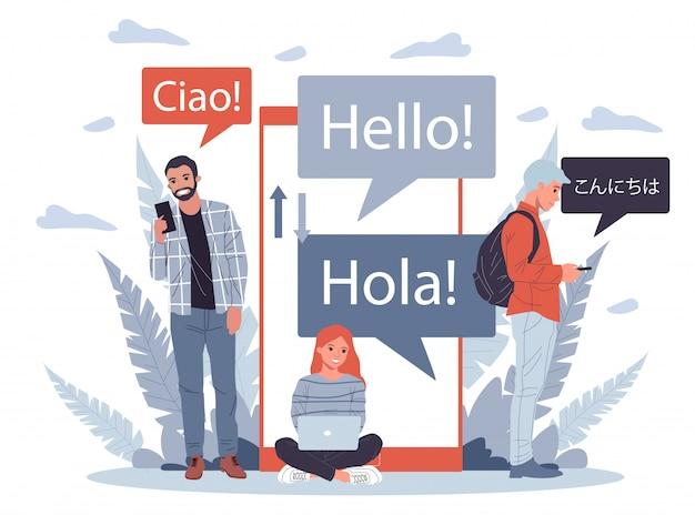 Illustrazione di traduttore multilingue online