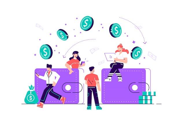 Illustrazione di transazioni finanziarie, trasferimento di denaro, banche, portafogli di grandi dimensioni con monete. illustrazione di stile moderno design piatto per pagina web, carte, poster, social media.